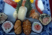 Ginza. Close up display of plastic sushi