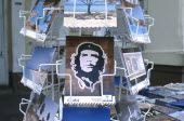 Close up of a rack of post cards depicting Che Guevara