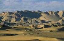 Desert landscape and hills near Dhakla Oasis