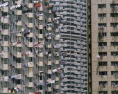 Suburban tower block apartments with washing hanging from balconies