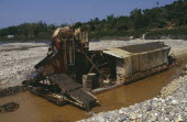 Gold dredger on the upper Ayeyarwady River operated by prospectors from the Peoples Republic of ChinaBurma Myanmar