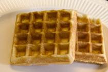 Waffles served at midmorning brunch.
