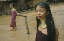 Karen Longneck tribe women in protected refugee zone near Myanmar border Burma