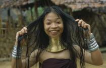 Karen Longneck tribe woman wearing gold rings around her neck