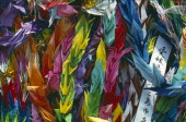 Paper origami cranes at the Children s Memorial in the Peace Park gardens
