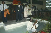 Total immersion baptism in Baptist church