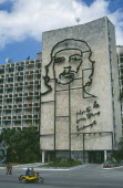 Communist Party HQ in Revolution Square with iron mural of Che Guevara on the front wall