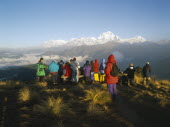 Trekkers gathered to watch the sunrise over the Annapurna mountain range.