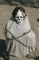 Mummified body in a Nazca cemetery.