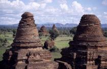 Crumbling brick Pagoda rooftops