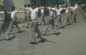 Group exercise by Toyota workers.