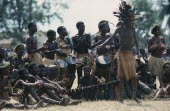 Bapende tribal musicians playing at Gungu Festival. Pende  Zaire