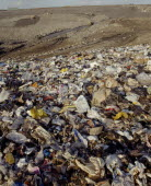 View across waste on a Infill site towards trucks used to move the rubbish