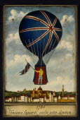 Musee des Ballons in the Chateau de Balleroy. Illustration depicting Vincenzo Lunardi  an Italian diplomat who piloted the first balloon flight in England in 1784 at Moorfields in London.Balloon Muse...