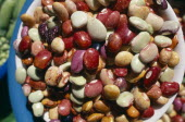 Bowl of mixed beans in the market.