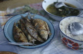 Typical meal of  fish served with rice and a piquant sauce.