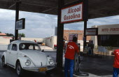 Service station selling Alcool Gasolina, Gasoline produced from sugar.