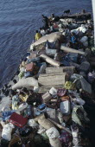 Heavily loaded river boat on the River Congo from Kinshasa to Kisangani.  Zaire