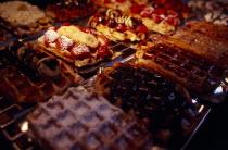 Display of Belgian waffles.