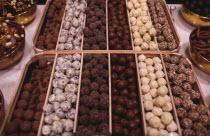 Display of Belgian chocolates.