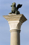 The Column of San Marco topped with the winged Lion of Venice in the Piazzetta