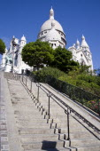 Montmartre Steps leading up to the side of the church of Sacre CouerEuropean French Religion Western Europe