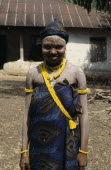 Sierra Leone, Full length portrait of Mende girl an initiate of the Sande Masquerade Society a Hale Medicine group.