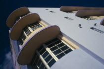 South Beach. Angled view of Art Deco building exterior