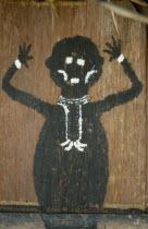 Detail of painted fertility symbol  .  on front of Barasana maloca  communal home.Tukano sedentary tribe Indian North Western Amazonia maloca American Colombian Columbia Hispanic Indegent Latin Americ...