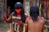 Young Panara women applying red karajuru face and body paint in preparation for dance.  Formally known as Kreen-Akrore  Krenhakarore  Krenakore  Krenakarore  Amazon American Brasil Brazilian Female W...