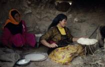 Settled Bedouin women making bread
