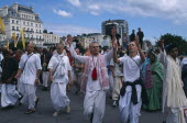 Hare Krishna taking part in a parade on Brighton seafrontEuropean Great Britain Northern Europe Religion UK United Kingdom