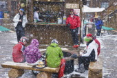 Skiers at outdoor bar in the snow.