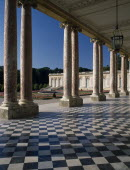 Versailles. The Grand Trianon with open interior court lined with columns.