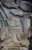 The Bayon.  Detail of bas relief carving on south wall depicting scenes of war.  Khmer soldiers on ship.Asian Cambodian History Kampuchea Southeast Asia Kamphuchea