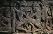 The Bayon.  Detail of bas relief carving on east wall depicting apsara dancers.Asian Cambodian History Kampuchea Religion Southeast Asia Kamphuchea Religious