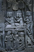 The Bayon.  Detail of bas relief carvings on east wall depicting kitchen in Chinese merchants house.Asian Cambodian History Kampuchea Southeast Asia Kamphuchea