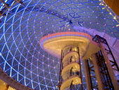Victoria Square shopping centre decorated for Christmas. View of the glass dome illuminated at night.Beal Feirste Center Cultural Cultures Eire European Irish Northern Europe Order Fellowship Guild C...