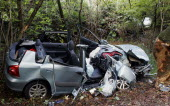 Honda Civic which has had its roof cut off to remove passengers involved in road traffic accident.RTA Automobiles Autos European Crash