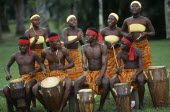 Tribal drummers dressed in Kente cloth. Near Accra.Percussion InstrumentDrumsAfrican Ghanaian Indigenous Western Africa Indegent