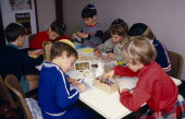 Sunday School pupils making greetings cards for Jewish New Year. multi-cultural culture society European Great Britain Kids Learning Lessons Londres Northern Europe Religion Religion Religious Judais...