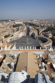 Vatican City View from the Dome of the Basilica of St peter across the Piazza San Pietro circled by the Bernini colonnade towards Castel Sant Angelo and the River TiberEuropean Italia Italian Roma So...