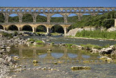 Pont du Gard.  Ancient Roman aqueduct  view from east.Bridge arch European French Western Europe History