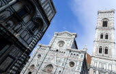 The Neo-Gothic marble west facade of the Cathedral of Santa Maria del Fiore and Giottos campanile belltowerEuropean Italia Italian Southern Europe Toscana Tuscan Firenze History Religion Religious
