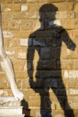 Shadow of the copy of the statue of David by Michelangelo in the Piazza della Signoria cast on the wall of the Palazzo VecchioEuropean Italia Italian Southern Europe Toscana Tuscan Firenze History Re...