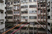 Tsim Sha Tsui  Nathan Road. Postwar apartments in bad condition with noticeable the colored sticks that Chinese are using for drying clothes.Block of flatsResidenciesBuildingStructureArchitecture...