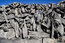 Detail of Dry Stone Wall in Limestone District.Eire European Irish Northern Europe Republic Ireland Poblacht na hEireann Karst Sedimentary Rock Blue Gray Scenic