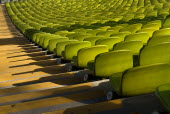 Germany, Bavaria, Munich, Olympic Stadium, Olympiastadion, Built as the main venue for the 1972 Summer Olympics, Green seat pattern.