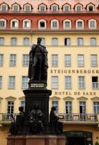 Nuemarkt  Statue of King Friedrich August II by Ernst Julius Handel 1867. Situated in front of the Steinberger Hotel de Saxe.Destination Destinations Deutschland European History Holidaymakers Sachse...