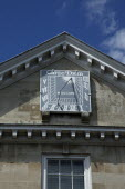 England, East Sussex, Lewes, High Street, Crown Court Building. Sundial detail.